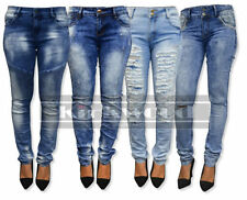 Ripped, Frayed Mid Rise Jeans Jeggings, Stretch for Women