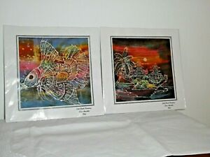 2 Silk Batik Paintings Sari Amertha Bali A Fish Plus Temples Near Water Palm Tre