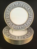 "(8) Wedgwood Florentine Black & Gold Dragon Pattern Set Salad Plate 8"" W4312"