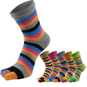 Women Cotton Toe Socks Striped Rainbow Patchwork Female Girls Five Finger Socks