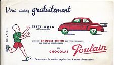 BUVARD chocolat POULAIN cheques TINTIN Auto demontable à gagner