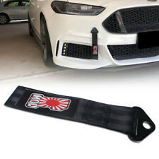 Black Nylon Traction Belt Tow Ropes JDM Japanese Rising Sun Printing Towing Hook