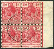 BRITISH SOLOMON ISLANDS-1923 1d Scarlet Block of 4 Sg 40 FINE USED V21982