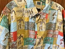 Kahala Aloha Shirt Cotton AVI USA HAWAIIAN SURFERS Motif Party Dress Mens L TALL