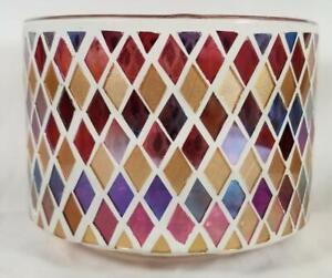 Yankee Candle Jar Shade Topper RUSTIC MOSAIC Cut Glass Pink Purple Blue Gold