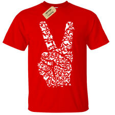 Niño Niña Signo de la Paz Fingers Camiseta Love Harmony Natural Pájaros