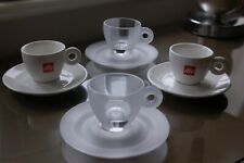 4 espresso shot cups and saucers 2 x Illy and 2 x Frosted glass