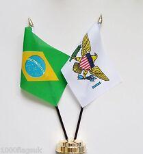 Brazil & US Virgin Islands Double Friendship Table Flag Set