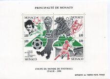 TIMBRE DE MONACO BLOC N° 50 ** ITALIA 90 / COUPE DU MONDE DE FOOTBALL EN ITALIE