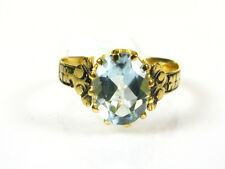 Victorian 14k Yellow Gold SterlingSilver Natural 2ct Oval Blue Topaz Ring I057BT
