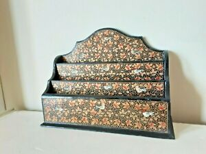 PRETTY VINTAGE WOODEN DECORATED LETTER RACK BIRDS FLOWERS