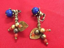 """Antique Chinese Sterling Silver Lapis Lazuli Jade Dangling Earrings 2"""""""