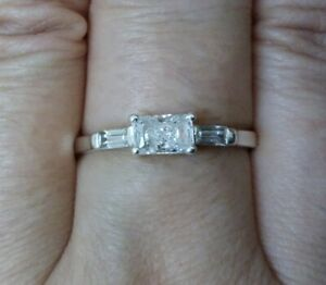 QVC Diamonique Radiant & Baguette Cut East West 925 Sterling Silver Ring Size V