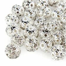 Carved European 10mm 100pcs Flower Chain Hollow Spacer Silver Plated Beads