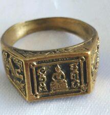 Ring LP Doo Yant Thai Amulet Brass Wat Sakae Ayutthaya Power Holy Buddha # 57 mm