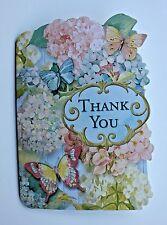 *PUNCH STUDIO Set of 4 Die Cut Blank Note Cards ~Floral ~ Hydrangea ~Butterflies