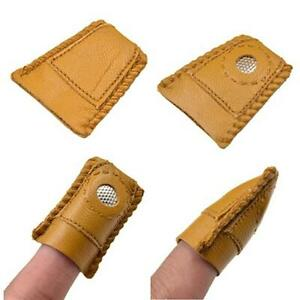 Finger Leather Thimble Sheepskin With Metal Tip For Sewing Needle Quilting W