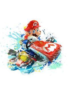 "Mario Kart A3 Digital Watercolour Splash Effect Poster Print 16.5"" x 11.7"""