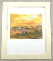 Jerusalem Landscape Silkscreen Print Signed Contemporary Jewish Art RARE Judaica