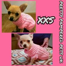 XXS SIZE PINK Puppy Dog Coat Knitted Warm Jumper Chihuahua Size 6