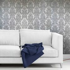 Vintage style paper Wallpaper rolls wallcoverings damask gray silver textured 3D