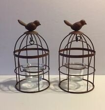 METAL BIRDCAGE PAIR OF TABLETOP TEA LIGHT CANDLE HOLDERS
