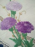 Stunning Purple Chrysanthemums Vintage Hand Embroidered Centrepiece/Tatted Edge