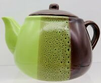 Studio Art Pottery Mid Century Modern Green Brown Glazed Coffee Tea Pot