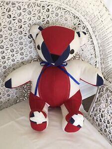 "OOAK AMERICAN FLAG Block TEDDY BEAR Cotton STARS Sitting 16 1/2"" Yacht HANDMADE"
