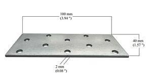 Flat Connecting Joining Plate Galvanised Heavy Duty metal Size: 100 x 40 x 2mm