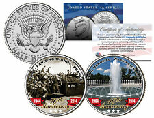 World War II D-DAY WWII Memorial Anniversary JFK Half Dollar Colorize 2-Coin Set