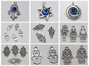 "Craft Tibet Silver Kabbalah EVIL EYE Hamsa Hand ""Star of David"" Charm Pendant"