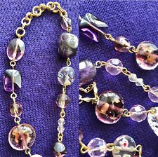 CookieLee Gold Long Necklace Cat Eye Crystal Iridescent Murano Glass Purple Pink