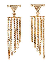 HOUSE OF HARLOW 1960 Gold-Tone Tres Tri Fringe Drop Earrings - NWT