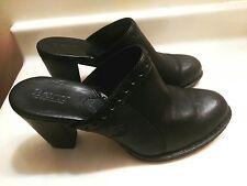 BORN Women's Comfort Clogs Black Leather Wedge Heel Shoes Size 9M