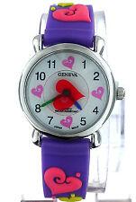 Geneva 3D Colorful Hearts Purple Rubber Band Kids Watch WA511