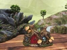 Fairy Garden-Tree Root House with Red Door & Mushrooms