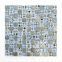 Glasmosaik Naturstein/Resin blau schwarz Wandverblender   83-CB07_f   10 Matten
