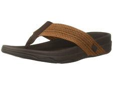 Men FitFlop Surfer FreshWeave Textile Flip Flop V85-167 Brown 100% Original New