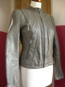 Ladies NEXT grey real Leather short Biker Racer Jacket size UK 18 20 XL taupe
