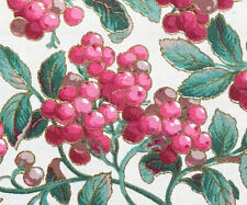 3/4 Yard Cotton Quilting Fabric Batik Red Berries, Green Leaves, Shiny Gold