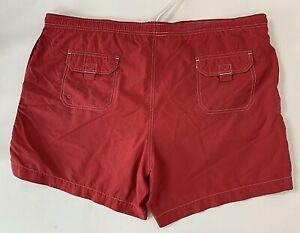 Lands End Men's Swim Trunks Bathing Suit Shorts Red Nylon Size Large 36 38