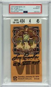 "Larry Csonka Signed Super Bowl (8) Authentic Ticket Stub ""SB VIII MVP"" PSA"