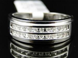 0.90 ct Round Cut Pave Diamond Double Row Pinky Engagement Band Ring W/Gold Over