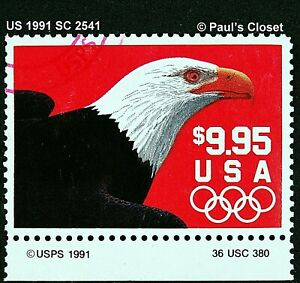 US 1991 SC2541 $9.95 EAGLE PROFILE W/USA OLYMPIC RINGS UNG (RED CANCEL) F/VF