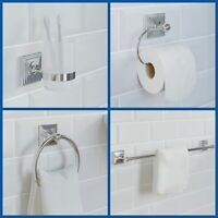 Chrome Bathroom Accessories Set Square Traditional Concealed Fittings Wall Hung