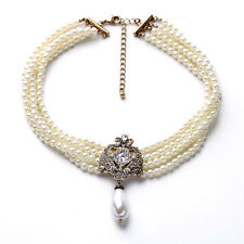 Multi Strand Great Gatsby Elegant Vintage Wedding Bridal White Pearl Necklace