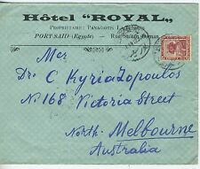 EGYPT--Ad Cover withTrain Post Office cancel on back in Australia 1912