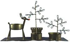 Tag Ltd. Christmas Tree & Reindeer Multi Tea Light Candle Holder Brown Metal NWT