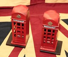 rare BOOK END LONDON ENGLISH TELEPHONE red BOOTH tin tinplate handmade